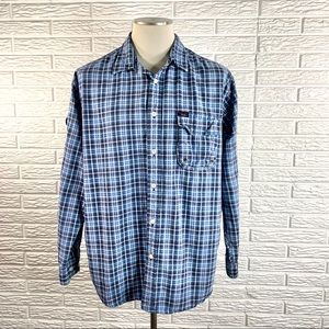 Tommy Jeans Mens Blue Plaid Button Up Shirt